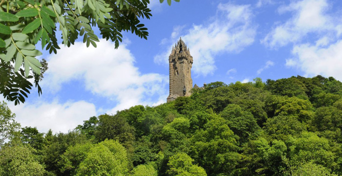 The Wallace Monument, Scotland's commemoration of its great hero, overlooking the site of Sir William Wallace's greatest victory at the Battle of Stirling Bridge in 1297.